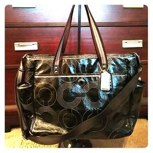 Coach Diaper Bag-Black Patent Leather-19911